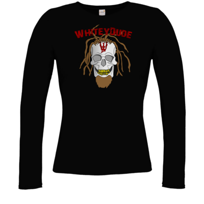 Motiv: Longsleeve Damen FAIR WEAR - Whitey - Pixel Skull mit Schrift