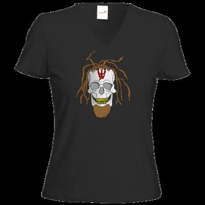 Motiv: T-Shirt Damen V-Neck Classic - Whitey - Pixel Skull