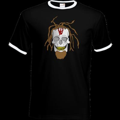 Motiv: T-Shirt Ringer - Whitey - Pixel Skull