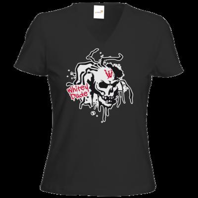 Motiv: T-Shirt Damen V-Neck Classic - Whitey - Logo