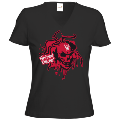 Motiv: T-Shirts Damen V-Neck FAIR WEAR - Whitey - Logo rot