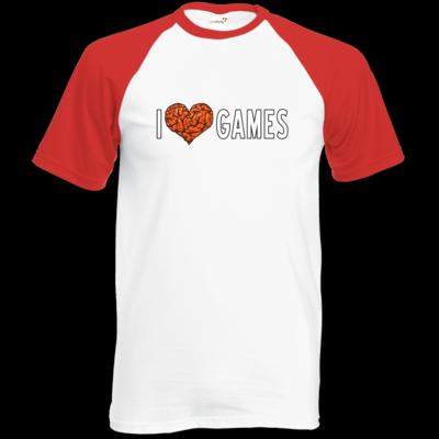 Motiv: Baseball-T FAIR WEAR - Hirnsturz - I love Games