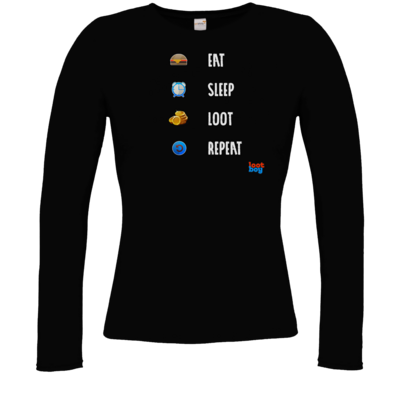 Motiv: Longsleeve Damen FAIR WEAR - LootBoy - eat sleep loot repeat