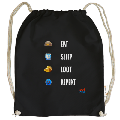 Motiv: Cotton Gymsac - LootBoy - eat sleep loot repeat