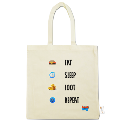 Motiv: Baumwolltasche - LootBoy - eat sleep loot repeat