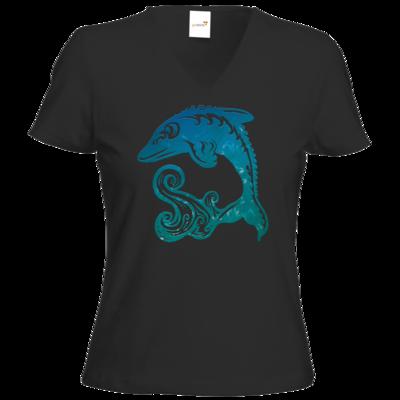 Motiv: T-Shirts Damen V-Neck FAIR WEAR - Götter - Efferd - Symbol