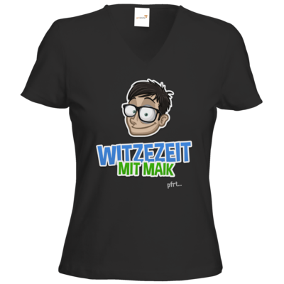 Motiv: T-Shirts Damen V-Neck FAIR WEAR - Witzezeit mit Maik