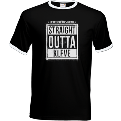 Motiv: T-Shirt Ringer - Curry - Straight Outta Kleve
