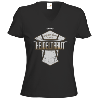 Motiv: T-Shirts Damen V-Neck FAIR WEAR - Heidelwurst Merch - Heideltraut - Slogan