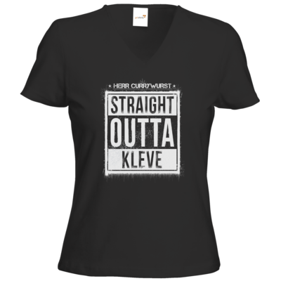 Motiv: T-Shirts Damen V-Neck FAIR WEAR - Curry - Straight Outta Kleve