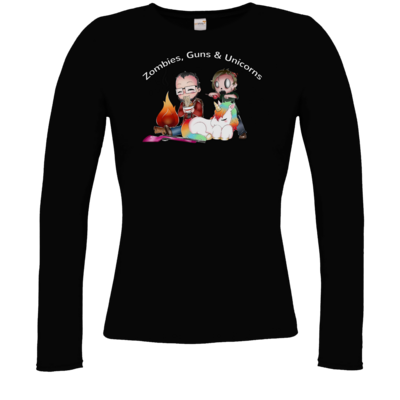 Motiv: Longsleeve Damen FAIR WEAR - DerPeci - Zombies, Guns and Unicorns