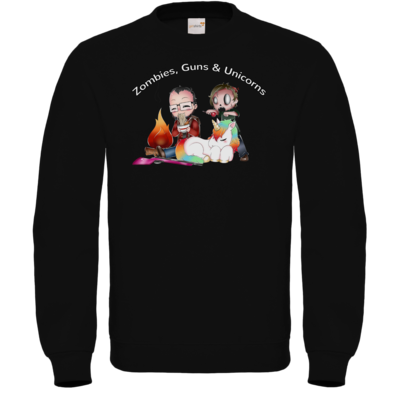 Motiv: Sweatshirt FAIR WEAR - DerPeci - Zombies, Guns and Unicorns