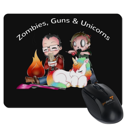 Motiv: Mousepad Textil - DerPeci - Zombies, Guns and Unicorns