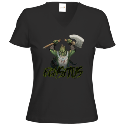 Motiv: T-Shirts Damen V-Neck FAIR WEAR - Let's Plays - Echsitus