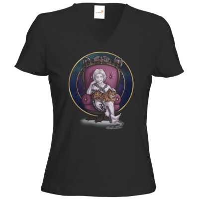 Motiv: T-Shirts Damen V-Neck FAIR WEAR - Götter und Dämonen - Namenloser - Chibi