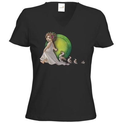 Motiv: T-Shirts Damen V-Neck FAIR WEAR - Götter - Travia - Chibi