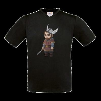 Motiv: T-Shirt V-Neck FAIR WEAR - Let's Plays - Nubor der Schildlose - Chibi