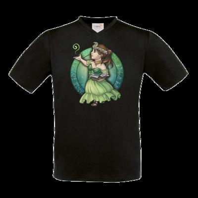 Motiv: T-Shirt V-Neck FAIR WEAR - Götter - Hesinde - Chibi