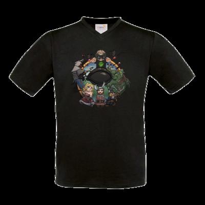 Motiv: T-Shirt V-Neck FAIR WEAR - Let's Plays - Das Buch Der Abenteuer - Chibi