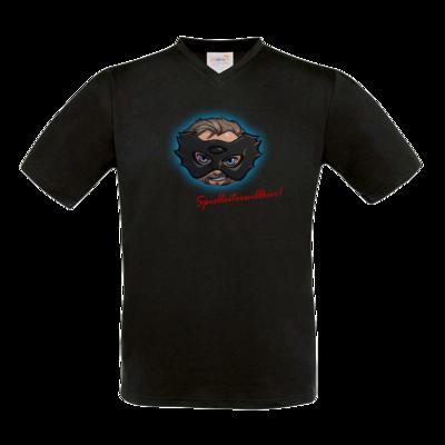 Motiv: T-Shirt V-Neck FAIR WEAR - Let's Plays - Das Buch der Macht - Chibi - glow