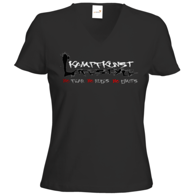 Motiv: T-Shirts Damen V-Neck FAIR WEAR - Kampfkunst Lifestyle - Logo 1