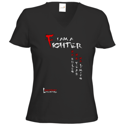 Motiv: T-Shirts Damen V-Neck FAIR WEAR - Kampfkunst Lifestyle - I am a Fighter