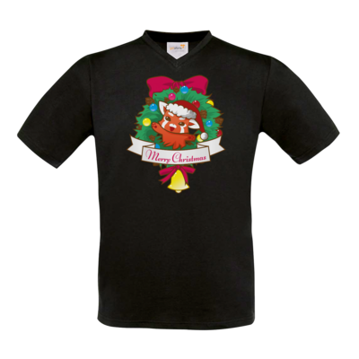 Motiv: T-Shirt V-Neck FAIR WEAR - Syrenia - Merry Christmas