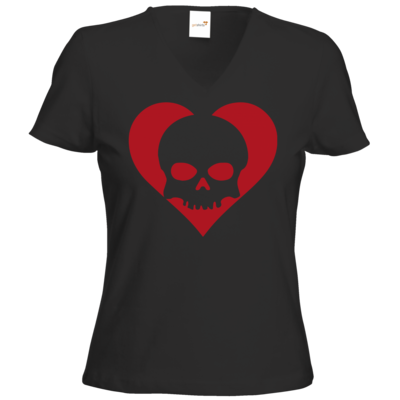 Motiv: T-Shirts Damen V-Neck FAIR WEAR - Piratenherz