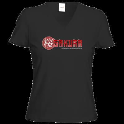 Motiv: T-Shirts Damen V-Neck FAIR WEAR - Sakura Logo