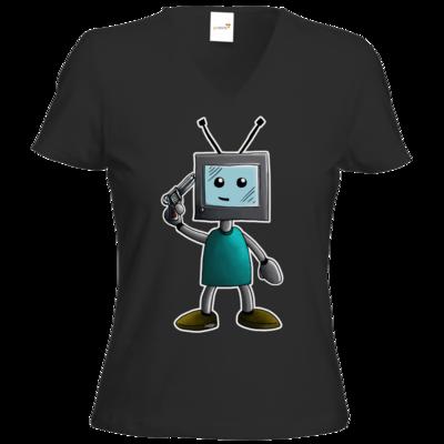 Motiv: T-Shirts Damen V-Neck FAIR WEAR - TV Man