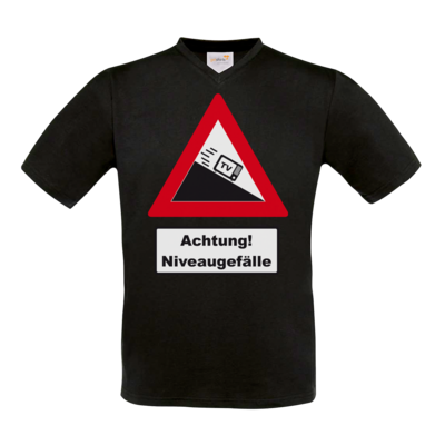 Motiv: T-Shirt V-Neck FAIR WEAR - Achtung Niveaugefaelle