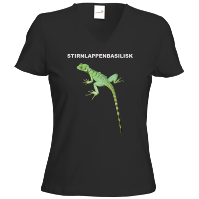 Motiv: T-Shirts Damen V-Neck FAIR WEAR - Stirnlappenbasilisk
