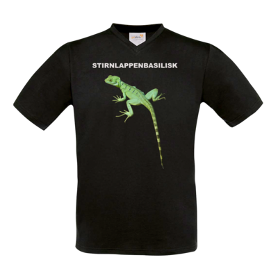 Motiv: T-Shirt V-Neck FAIR WEAR - Stirnlappenbasilisk