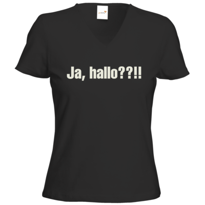 Motiv: T-Shirts Damen V-Neck FAIR WEAR - ja hallo