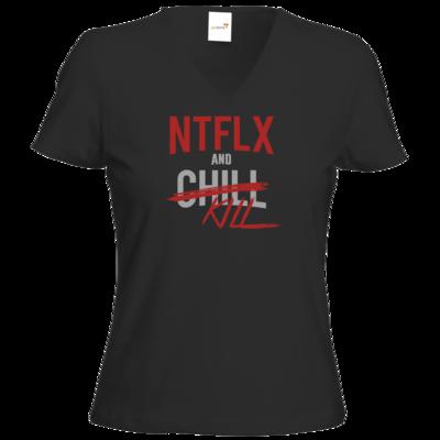 Motiv: T-Shirt Damen V-Neck Classic - NTFLX