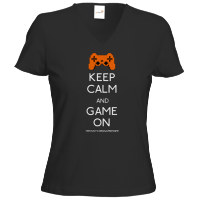 Motiv: T-Shirts Damen V-Neck FAIR WEAR - Keep Calm Game On