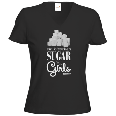 Motiv: T-Shirts Damen V-Neck FAIR WEAR - Sugar für die Girls