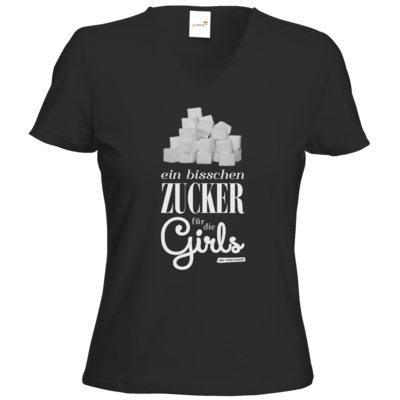 Motiv: T-Shirts Damen V-Neck FAIR WEAR - Zucker für die Girls