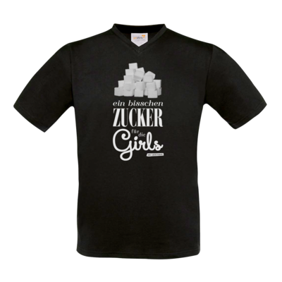 Motiv: T-Shirt V-Neck FAIR WEAR - Zucker für die Girls