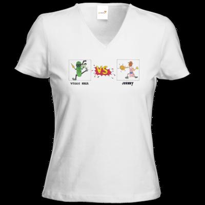Motiv: T-Shirts Damen V-Neck FAIR WEAR - Veggie Ninja VS Johnny
