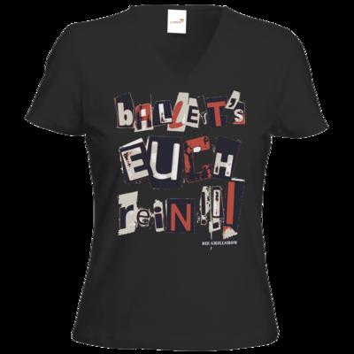 Motiv: T-Shirts Damen V-Neck FAIR WEAR - Grillshow Ballerts euch rein