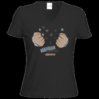 Motiv: T-Shirts Damen V-Neck FAIR WEAR - Grillshow Doppelfaust