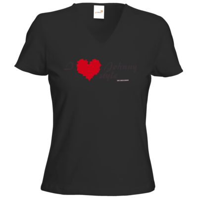 Motiv: T-Shirts Damen V-Neck FAIR WEAR - Grillshow I love Johnny style