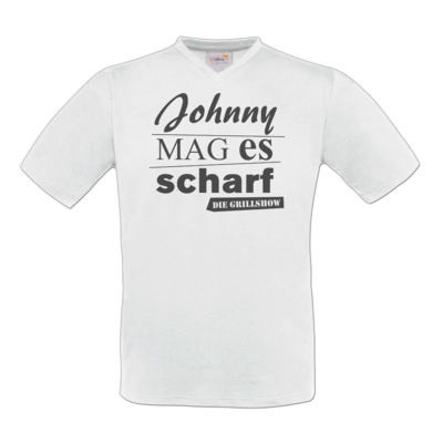 Motiv: T-Shirt V-Neck FAIR WEAR - Grillshow Johnny mag es scharf