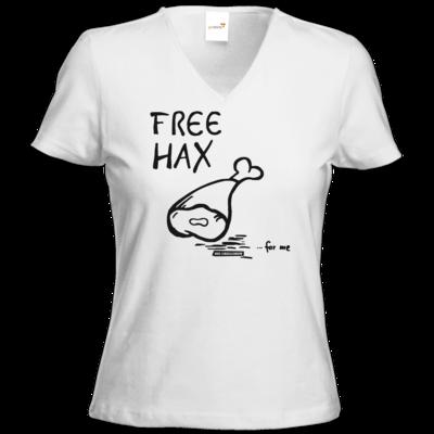 Motiv: T-Shirts Damen V-Neck FAIR WEAR - Free Hax schwarz
