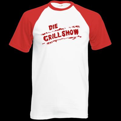 Motiv: Baseball-T FAIR WEAR - Die Grillshow - Logo rot