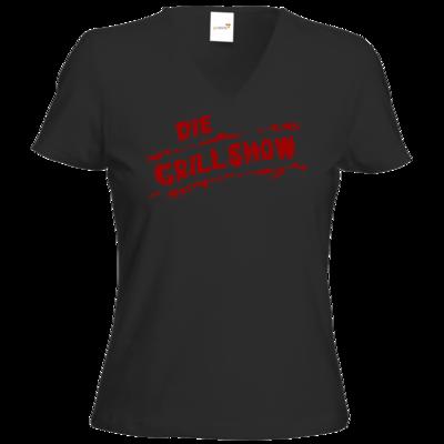 Motiv: T-Shirts Damen V-Neck FAIR WEAR - Die Grillshow - Logo rot