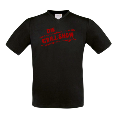 Motiv: T-Shirt V-Neck FAIR WEAR - Die Grillshow - Logo rot