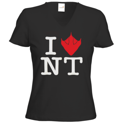 Motiv: T-Shirts Damen V-Neck FAIR WEAR - I Love NT Cube 2.0