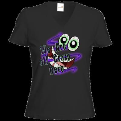Motiv: T-Shirts Damen V-Neck FAIR WEAR - SandcoolTV - We Are Crazy